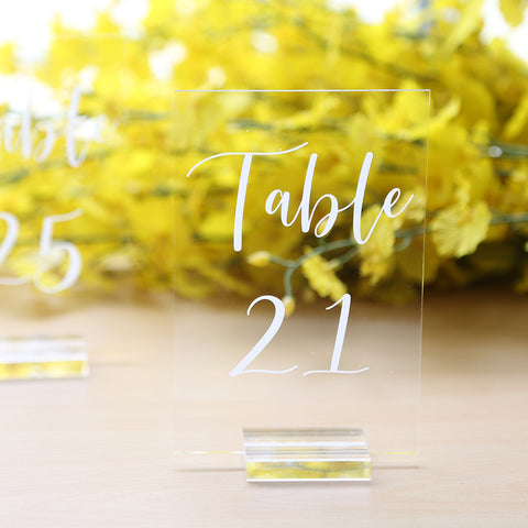 Acrylic Table Numbers with Stands 21-25 | 4x6 inch Printed Calligraphy, Signs and Holders