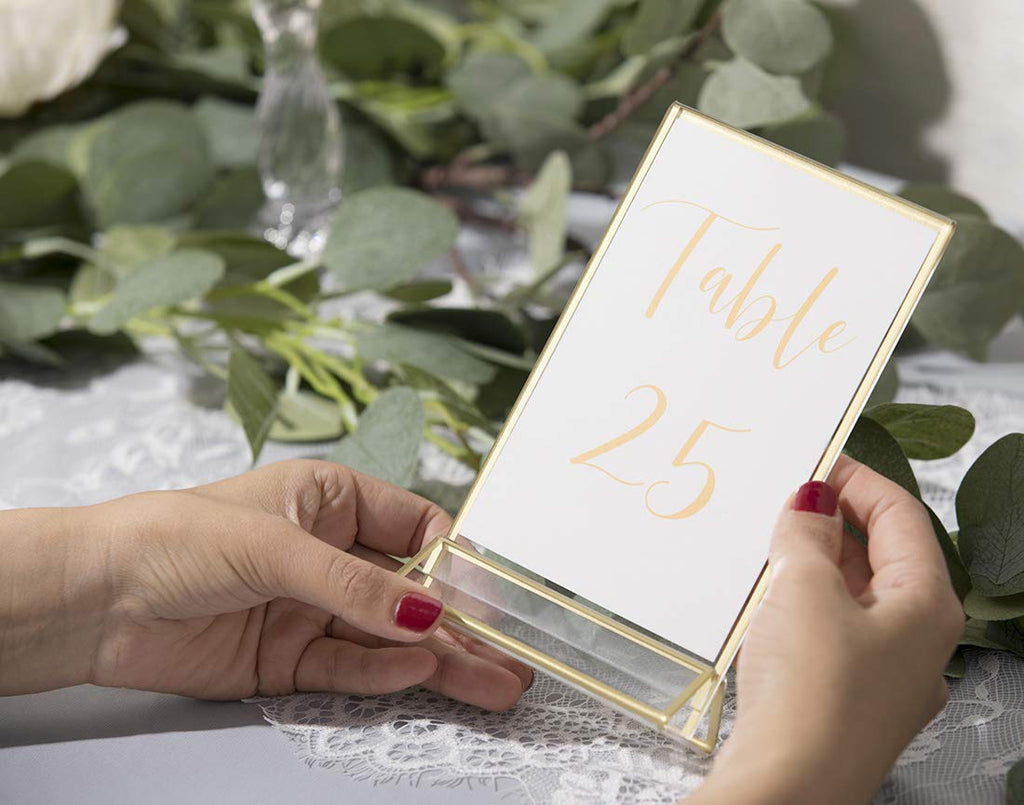 Acrylic Sign Holders with Gold Border, Pack of 6 | 4x6 Double Sided Clear Frame