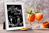10x12 inch Wedding Chalkboard Sign, 2 in 1 White Wood Photo Frame, Hanging/Freestanding