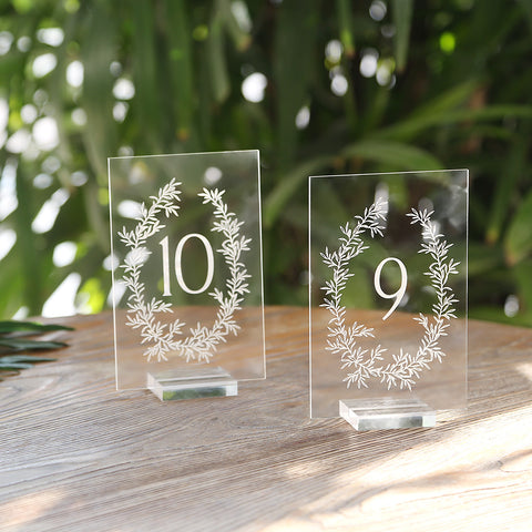 Acrylic Wedding Table Numbers 1-20 With Acrylic Stands | 4x6 inch Botanical Olive Wreath Design