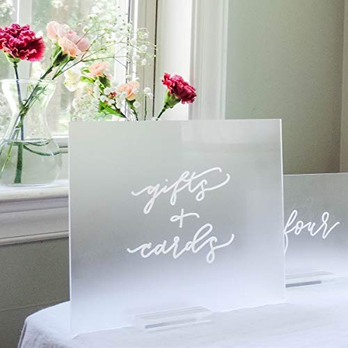 UNIQOOO 8x10 Inch DIY Blank Frosted Acrylic Sheets | Wedding Acrylic Sign, Set of 10 | Cards and Gifts Signs, Table Number Signs, Guest Book, Love Memory, Welcom Signs | Wood Stand NOT Included