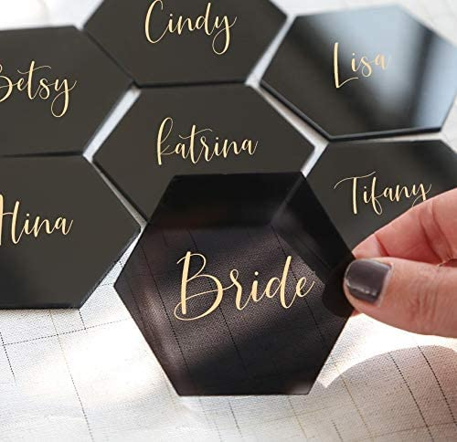 3 1/4 Tinted Black Hexagon Acrylic Place Cards | DIY Wedding Event Table Seating Escort Cards, 20 Count