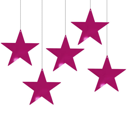 Metallic Deep Pink Foil Star Cutout