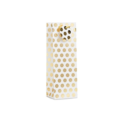 12 Pack 2 Designs Gold Silver Polka Dots Wine Bottle Gift Bags (Only Delivery to US)