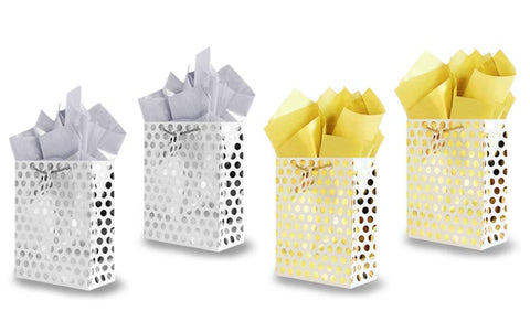 Metallic Foil Gold & Silver Polka Dots Gift Bags with Tissue Paper