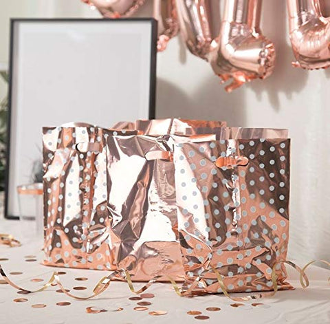 60 Metallic Rose Gold & Polka Dot Wedding Favor Bags (Only Delivery to US)