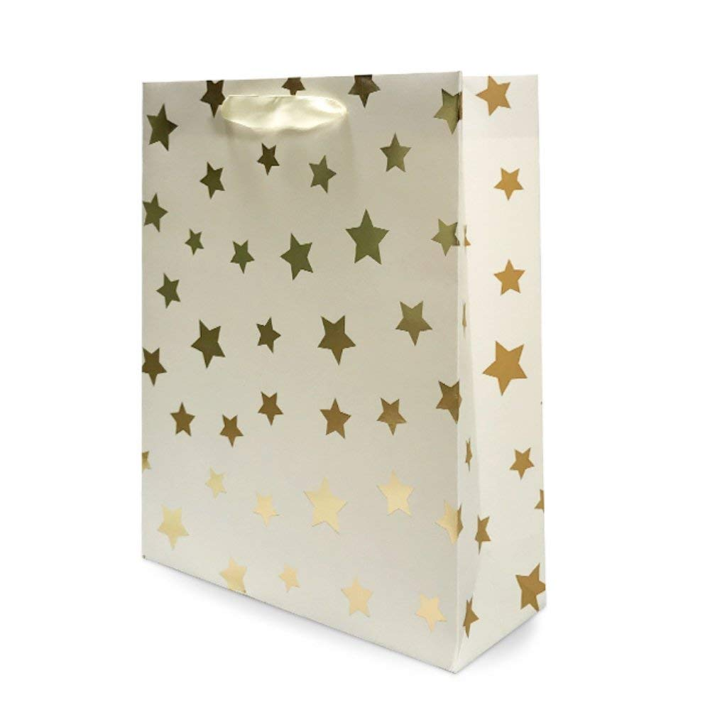 "UNIQOOO 12Pcs Premium Gold Metallic Stars Medium Gift Bags Bulk, 9 1/2""x 7X 3 1/4"" 100% Recyclable Paper Retail Shopping Bags, Ribbon Handle/Wedding,Baby Shower, Birthday Party,Christmas Gift Bags ( Only Delivery to US)"