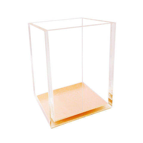 Clear Acrylic Gold Desk Pen and Pencil Holder