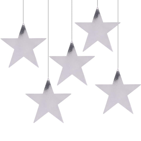 Metallic Silver Foil Star Cutout