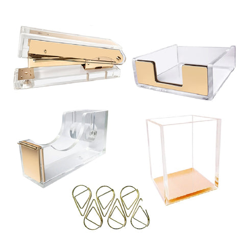 5 Count Clear Acrylic Gold Finished Stationery Set