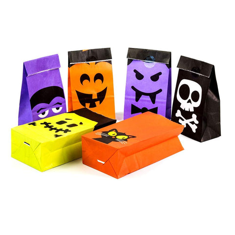 UNIQOOO 72Pcs Halloween Trick or Treat Bags Bulk, Food Safe Grade Paper Pastry Bags,7x3½ x2 inch, Goodie Bags,Cookie Candy Bags,Birthday Halloween Party Favor Supplies Gift Wrapping Table Decoration ( Only Delivery to US)