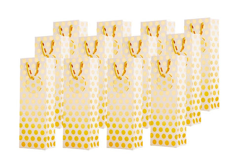 Metallic Gold Foil Polka Dot Wine Gift Bags