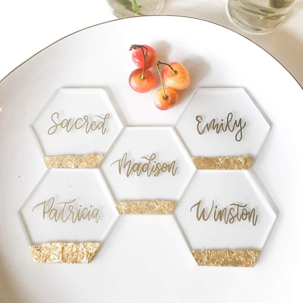 5 1/2 inch Hexagon Clear Blank Acrylic Sheet | Table Number Signs | Wedding Invites, 20 Count