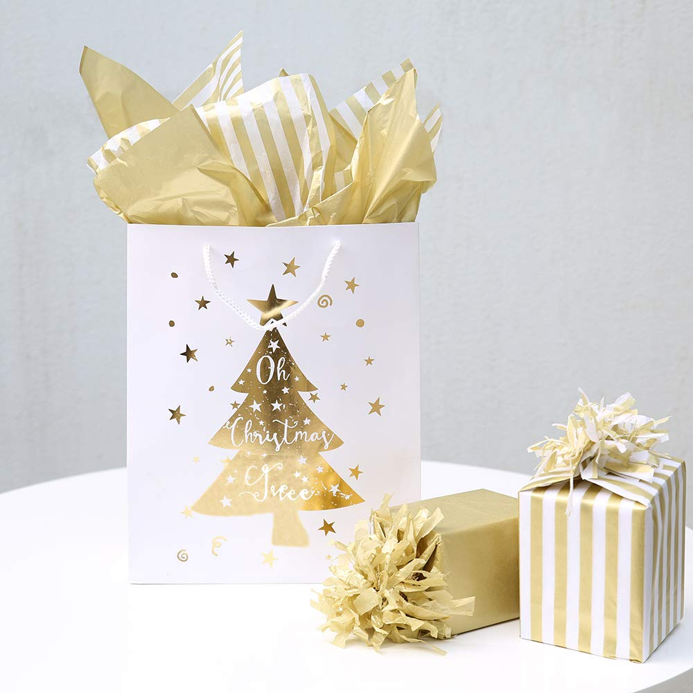 "UNIQOOO 60 Sheets Premium Metallic Gold & White Gold Stripes Tissue Gift Wrap Paper Bulk, 20"" X 26"" Each, 100% Recyclable Gift Wrapping Accessory"