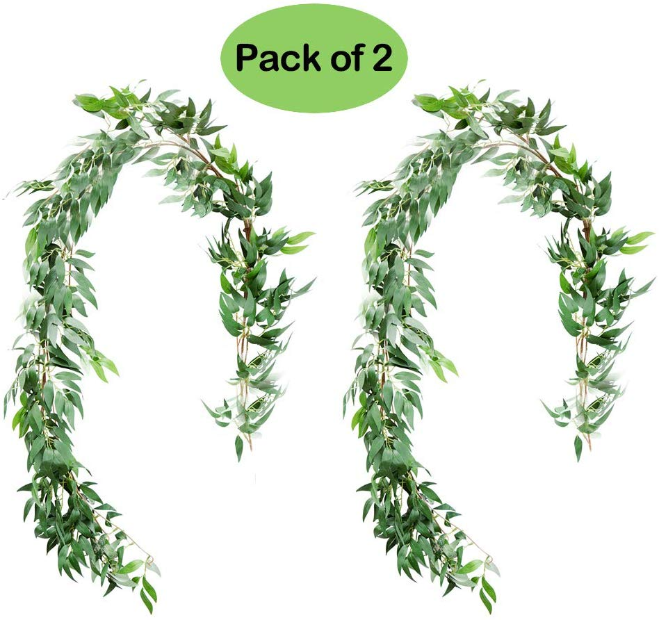 UNIQOOO 5.6 Feet Willow Leaves Garland, Artificial Greenery Wedding Vines, Pack of 2
