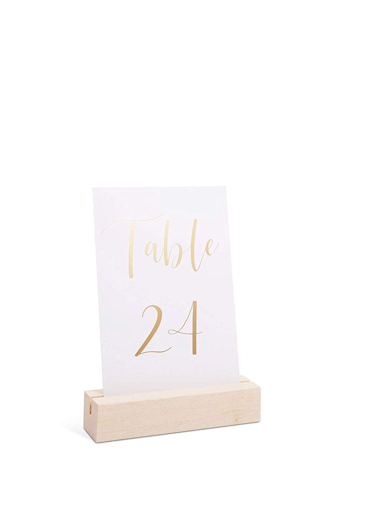 Nature Color Wood Display Stands | Acrylic Sign Holders | Table Numbers Holder, Medium