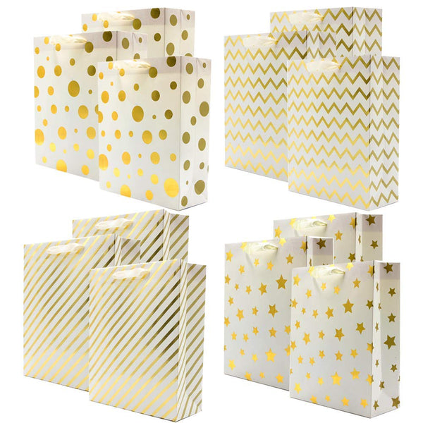 Assorted Gold Foil Metallic Gift Bags