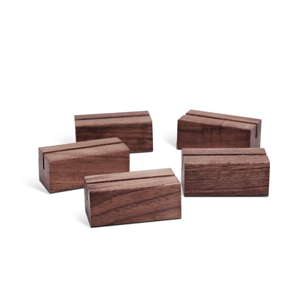200 Count Rustic Walnut Wood Display Stands | Place Card Holder, Small