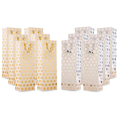 "UNIQOOO 12Pcs Premium Quality Gold & Silver Metallic Foil Polka Dots Wine Gift Bag Bulk, w/Gift Massage Tag,100% Recyclable Paper,14""x4.75""x3.5"" Wine Carrier Bags Tote Gift Bags, Party Gift Wrapping ( Only Delivery to US)"