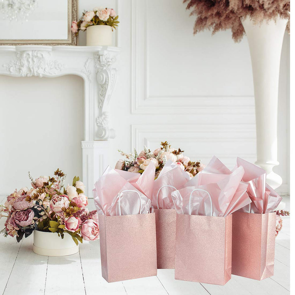 "12 Pack 9.5"" Sparkly Rose Gold Pink Glitter Kraft Paper Gift Bags (Only Delivery to US)"