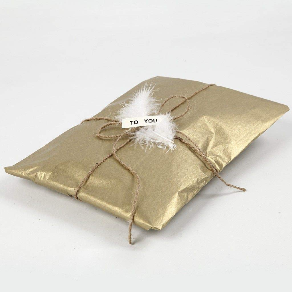 "UNIQOOO 60 Sheets Premium Metallic Gold Tissue Gift Wrap Paper Bulk, 20"" X 26"" Each, 100% Recyclable Gift Wrapping Accessory, Perfect for Gift Wrapping, Wine Bottles, Any Art Craft Idea ( Only Delivery to US)"