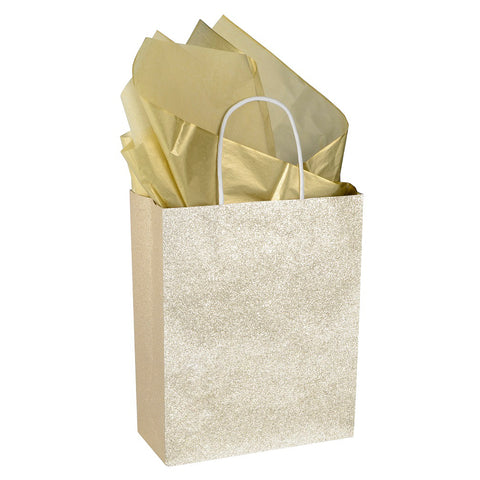 "12 Pack 9.5"" Sparkly Gold Pink Glitter Kraft Paper Gift Bags (Only Delivery to US)"