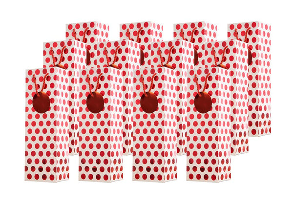 Metallic Red Foil Polka Dot Wine Gift Bags