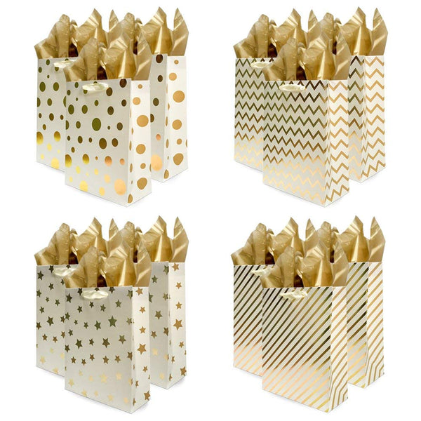 UNIQOOO 12Pcs Premium Assorted Gold Metallic Foil Gift Bags & Tissues, Bag Large 12.5''x10.5x4'', w/10 Pcs Gold Tissue Papers 20''x26'', Gift Wrapping Set,Wedding,Birthday,Party,Christmas,Holiday Gift ( Only Delivery to US)