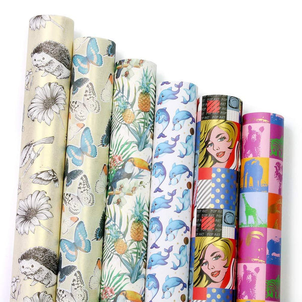"UNIQOOO Premium Assorted Gift Wrapping Paper 24 Sheets,6 Designs 4 Each, Unique Pop Art Kimono Style,Sheet Size 27½"" X17"", Brush Gold Finish/Wedding Christmas Present Tissue Warp"