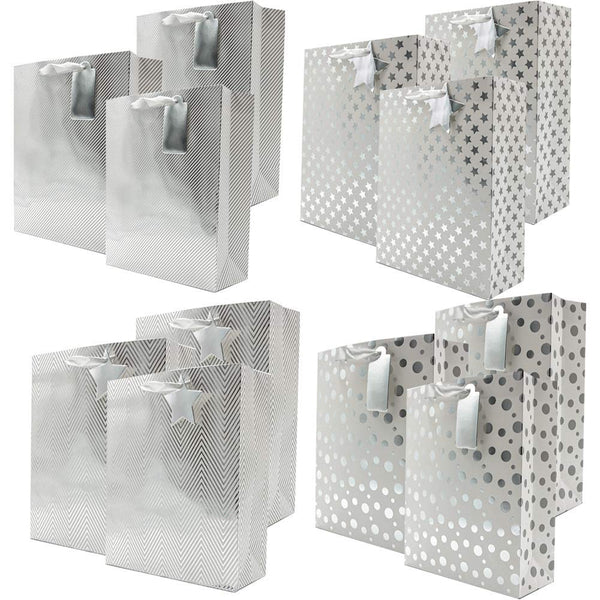 Assorted Silver Metallic Gift Bags