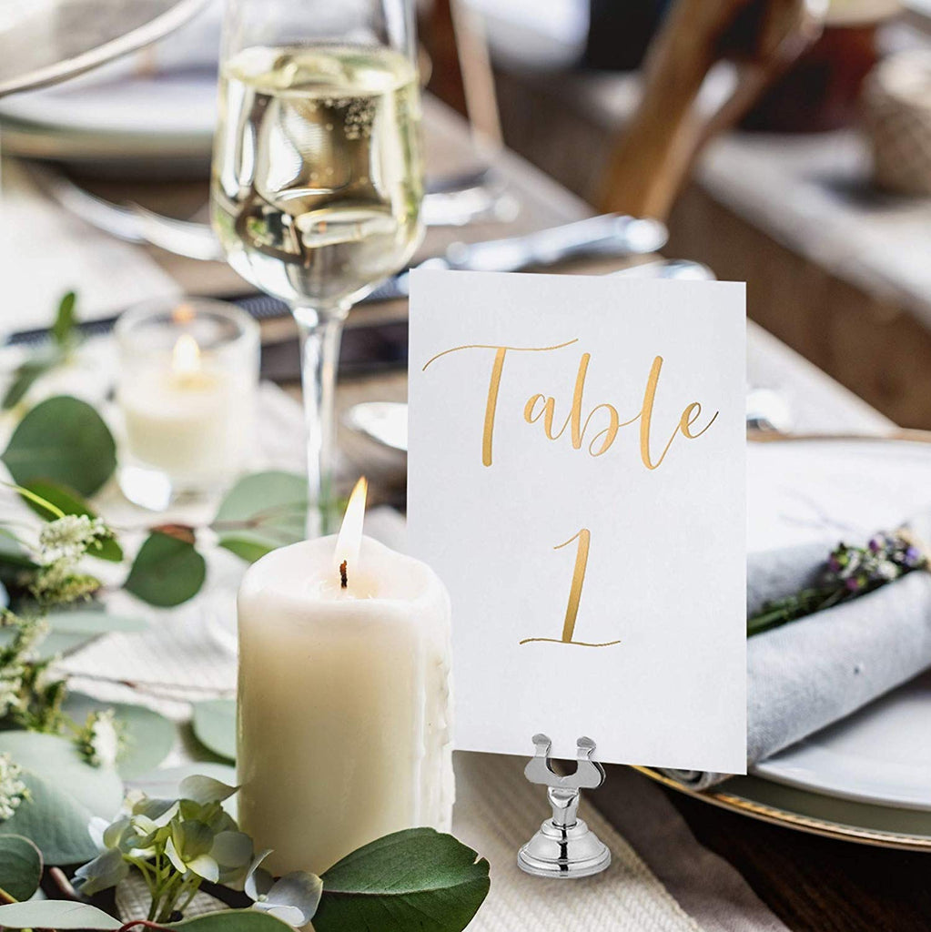 Gold Foil Table Numbers for Wedding | 4x6 Double Sided Number 1-25 & Head Table Card, Calligraphy Design | Ideal Table Sign for Banquet Dinner Party | Pack of 26
