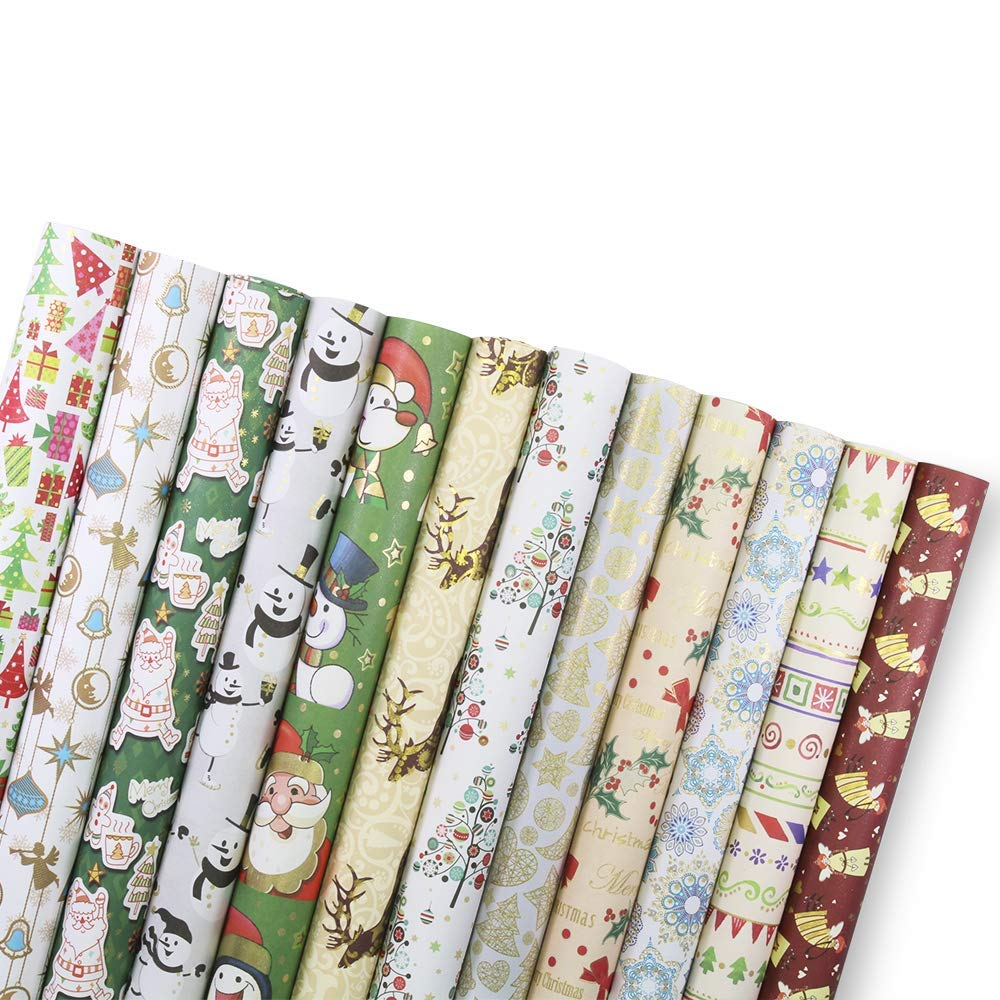 UNIQOOO Premium Assorted Christmas Gift Wrapping Paper 24 ...