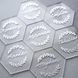 Clear Hexagon Acrylic Place Cards for Wedding, 20 Count
