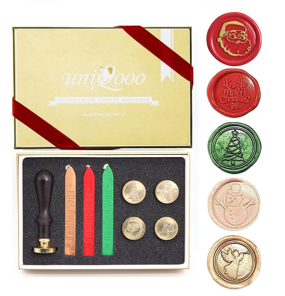 Christmas Wax Seal Stamp Gift Kit- 5 Designs - Merry Christmas, Santa Claus, Tree, Snowman, Angel