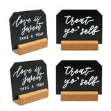 4x3 inch Mini Chalkboard Signs with Rustic Wood Stands | Set of 6