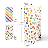 UNIQOOO Party Favor Rainbow Polka Dot and Stripe Treat Bags - 72 Pcs- Party Favor Candy Bags, Recyclable Paper Goodie Bags for Kids Birthday Party, Baby Shower, Party Supplies Decoration ( Only Delivery to US)