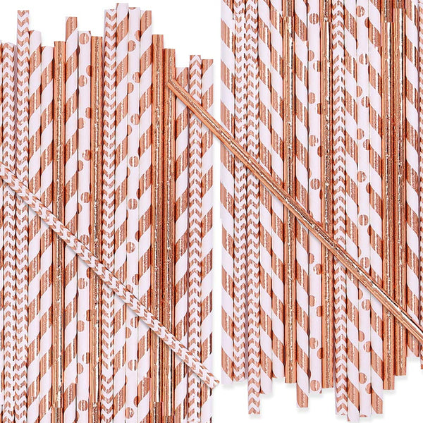 Rose-Gold Drinking Paper Straws
