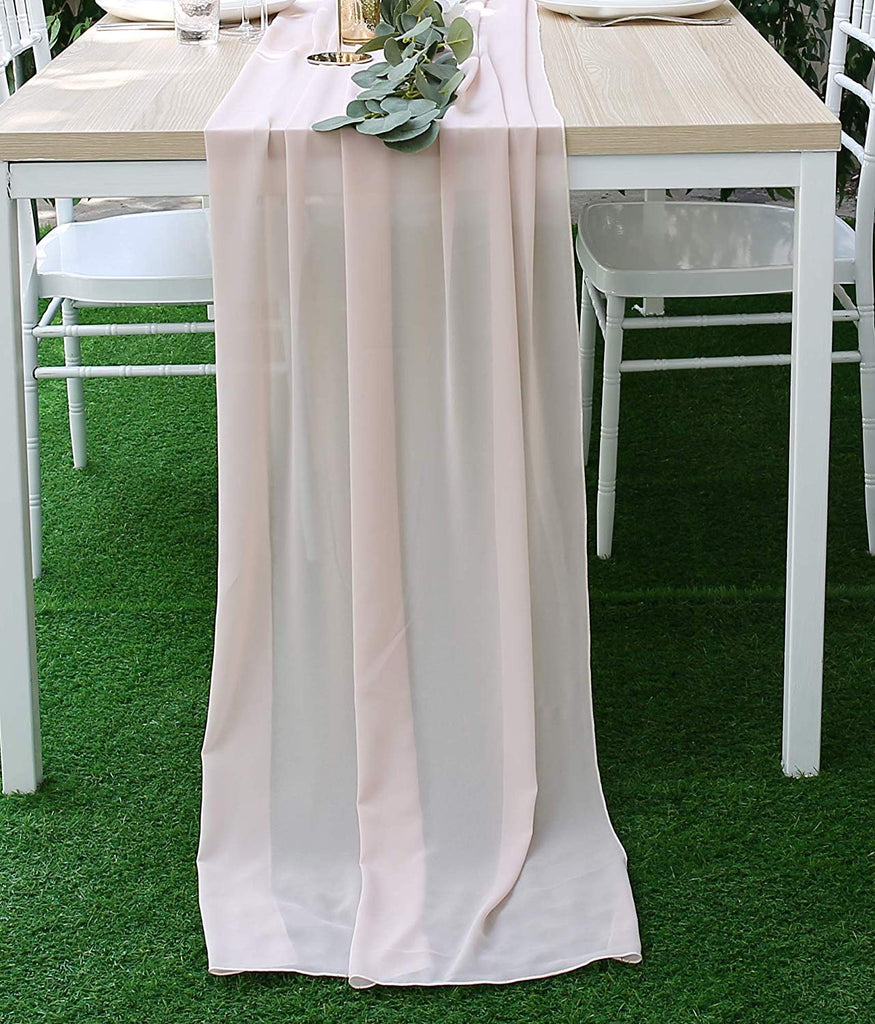 27.5 x 118 Inches Chiffon Table Runner | Silky Chic Sheer Tablecloth Table Decoration