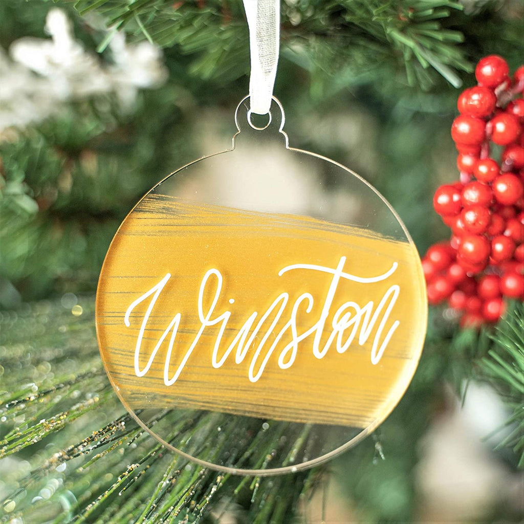 "UNIQOOO 3"" Clear Round Acrylic Christmas Ornament 2020, DIY Blank Christmas Bauble Tree Decoration, Stocking Name Tag, Tags, Momento, 4mm Extra Thick, Pack 20"