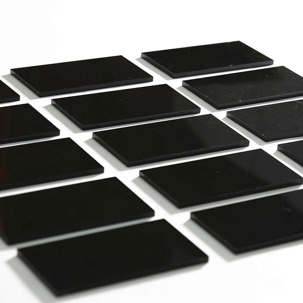 Black Acrylic Extra Thick Rectangle Escort Place Cards | Acrylic Plates, 80 Count