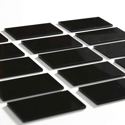 Black Acrylic Extra Thick Rectangle Escort Place Cards, 80 Count