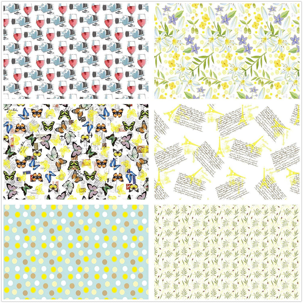 "UNIQOOO Premium Assorted Gift Wrapping Paper 24 Sheets,6 Designs 4 Each, Unique Fresh Japanese Kimono Style,Sheet Size 27½"" X17"", Brush Gold, Brush Silver Finish/Wedding Christmas Present Tissue Warp"