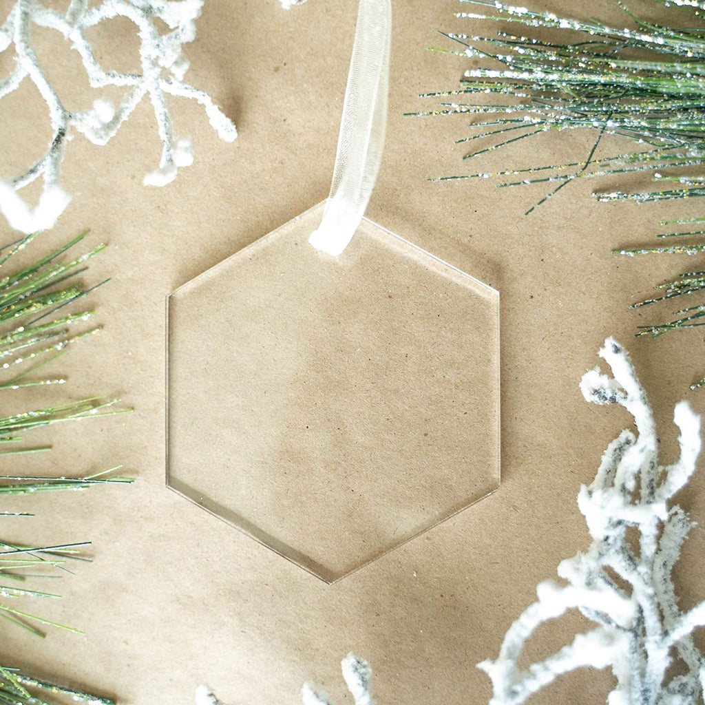 "UNIQOOO 3"" Clear Hexagon Acrylic Christmas Ornament 2020, DIY Blank Christmas Bauble Tree Decoration, Stocking Name Tag, Tags, Momento, 4mm Extra Thick, Pack 20"