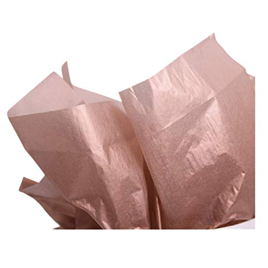 "NIQOOO 60 Sheets Premium Metallic Rose Gold & White Tissue Gift Wrap Paper Bulk, 20"" X 26"" Each, 100% Recyclable Gift Wrapping Accessory"