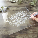 UNIQOOO 8x10 Inch DIY Blank Clear Acrylic Sheets | Wedding Acrylic Sign, Set of 10 | Cards and Gifts Signs, Table Number Signs, Guest Book, Love Memory, Welcom Signs | Wood Stand NOT Included