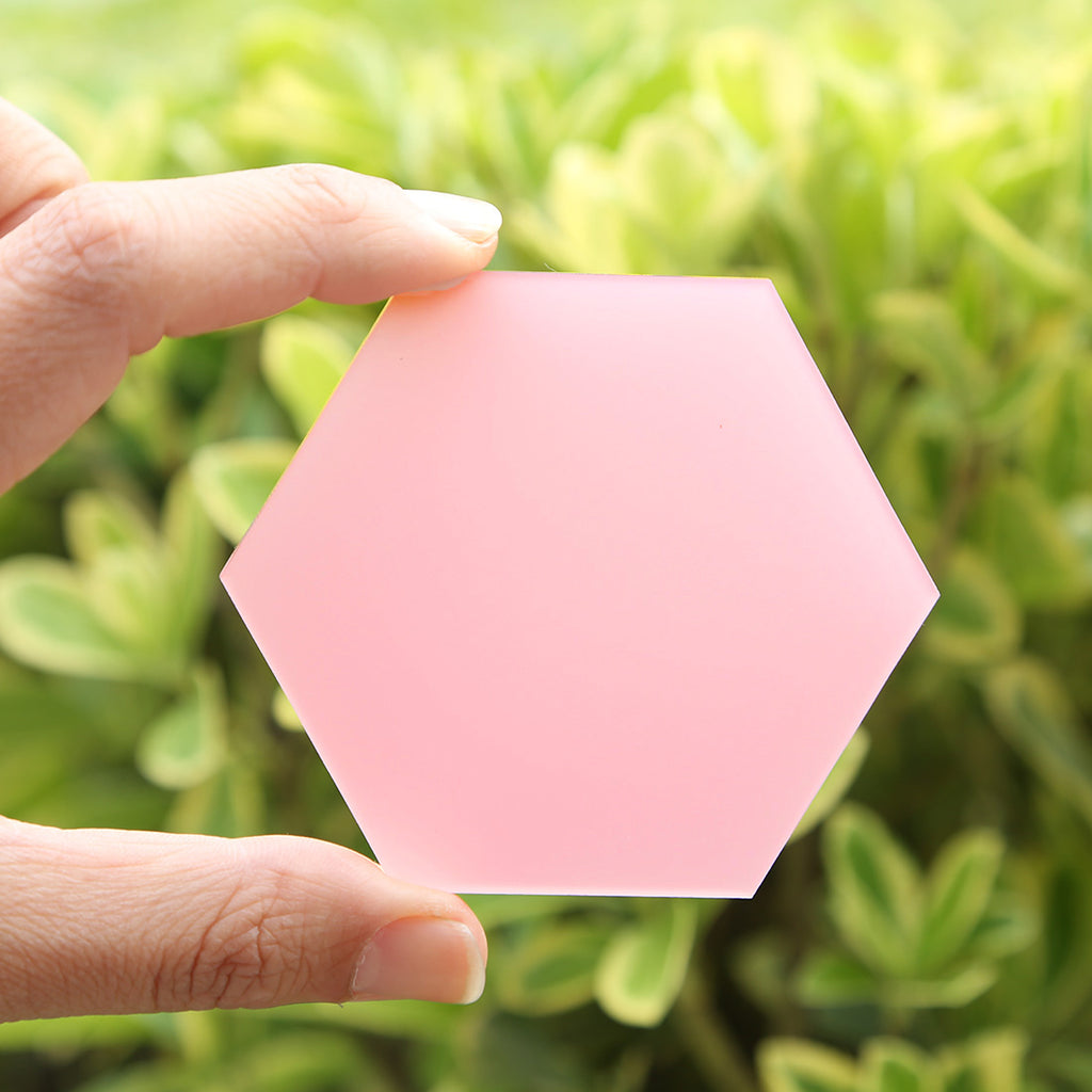 Frosted Pink Hexagon Acrylic Place Cards | DIY Wedding Event Table Seating Escort Cards, 20 Count