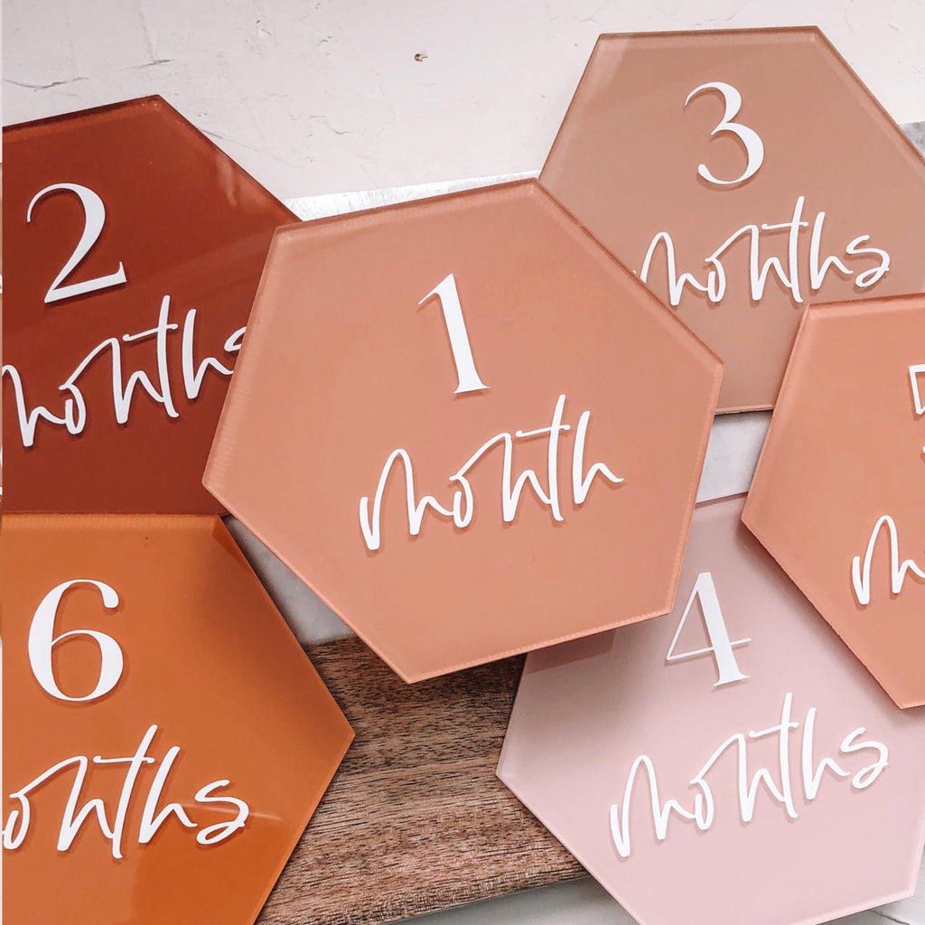 7 inch Hexagon Clear Acrylic Sheet | Table Number Signs | Baby Milestones, 10 Count