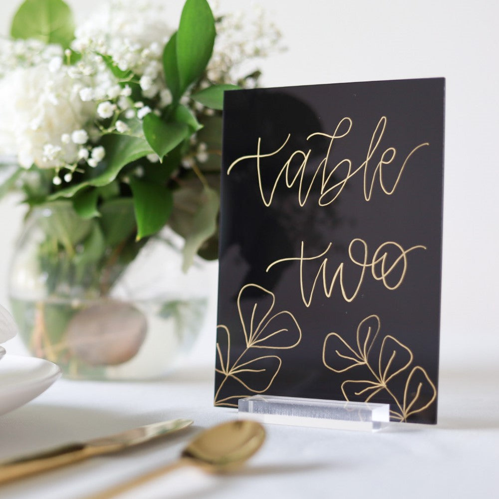5x7 Blank Tinted Black Acrylic Sign | Wedding Event Table Number Signs, Pack of 20