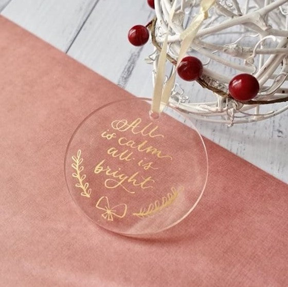 Blank Round Shape Clear Acrylic Hanging Tag Ornament, 20 Count