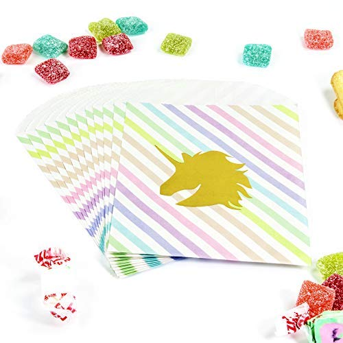UNIQOOO 72Pcs Gold Foiled Mermaid Unicorn Paper Treat Bag Bulk,Rainbow Dots Strip, 7½ x 4¾ Inch, Food Safe Grade Paper Pastry Cookie Candy Goodie Bag, For Holiday Party Favor Supply, Buffet Decoration